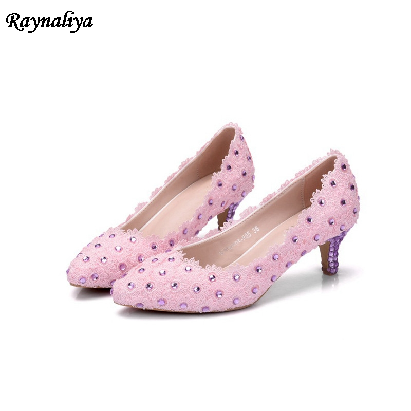 Women Wedding Shoes Pink Crystal Bridal Pumps Evening Party Med Heel Rhinestone Pointed Toe Slip On Sexy Ladies Shoes XY-A0038 women wedding silver shoes crystal sequins decor pumps lace slip on bridal super high heel round toe sexy ladies party shoes