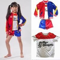 Kids Girls Batman Movie Suicide Squad Harley Quinn Coat Shorts Top Cosplay Costume Set