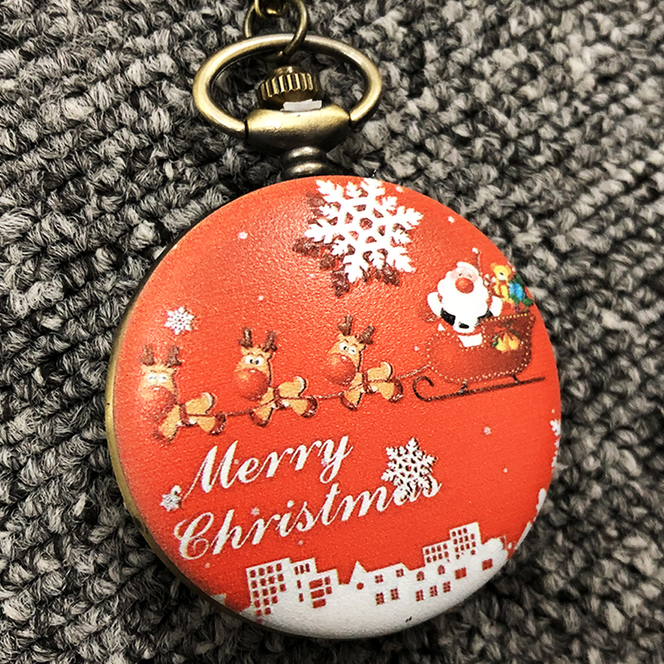 Christmas Pocket Watch Santa Claus Watch for Christmas Deer Snow Flower Red New Year Gift Xmas Hours Flip Fob Watches for Gift