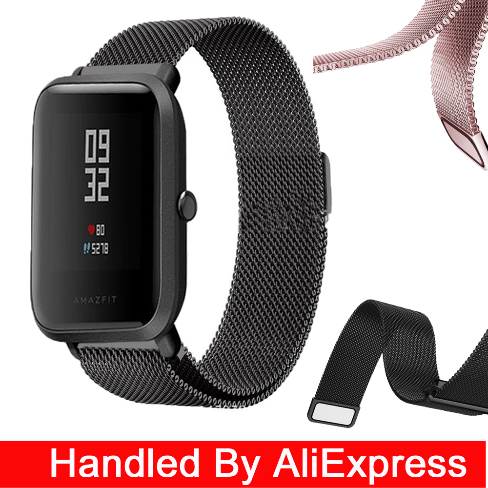 20mm Milanese Loop Magnetic Stainless Steel Watch Band for Xiaomi Huami Amazfit Youth bit Smart Watchband Strap Wrist Bracelet