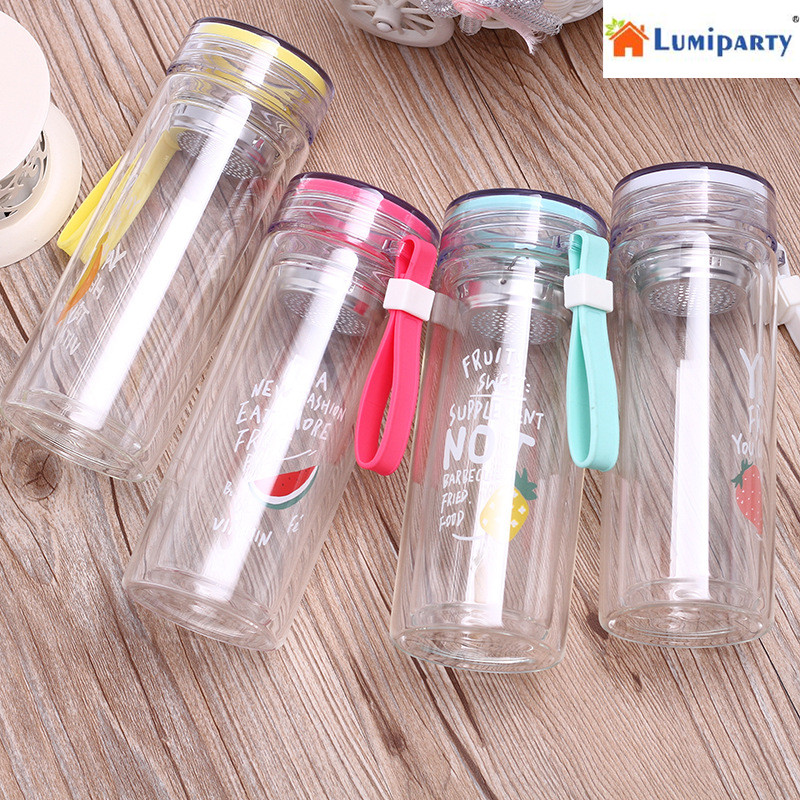 LumiParty Portable Glass Water Bottle,300ml Fruit Style Coffee Tea Infuser, Double wall Sport Water Tumbler with Tea Filter 25