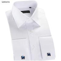 SAROUYA xFS71 2016 Mens Luxury Long Sleeve French Cuff shirts wedding Slim Fit Cufflinks Social Dress Shirt Formal Male Clothing