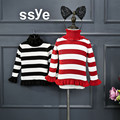 New Fashion England Style Winter Long Sleeve Striped Turtleneck Cotton Thick Girls Sweaters For Kids Pullover Knitwear For 2-8Y