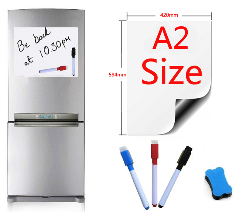 A2 Size Magnetic Whiteboard Fridge Magnets Marker Home Kitchen Message Boards Writing Sticker Magnets 1 Eraser 3 Pen