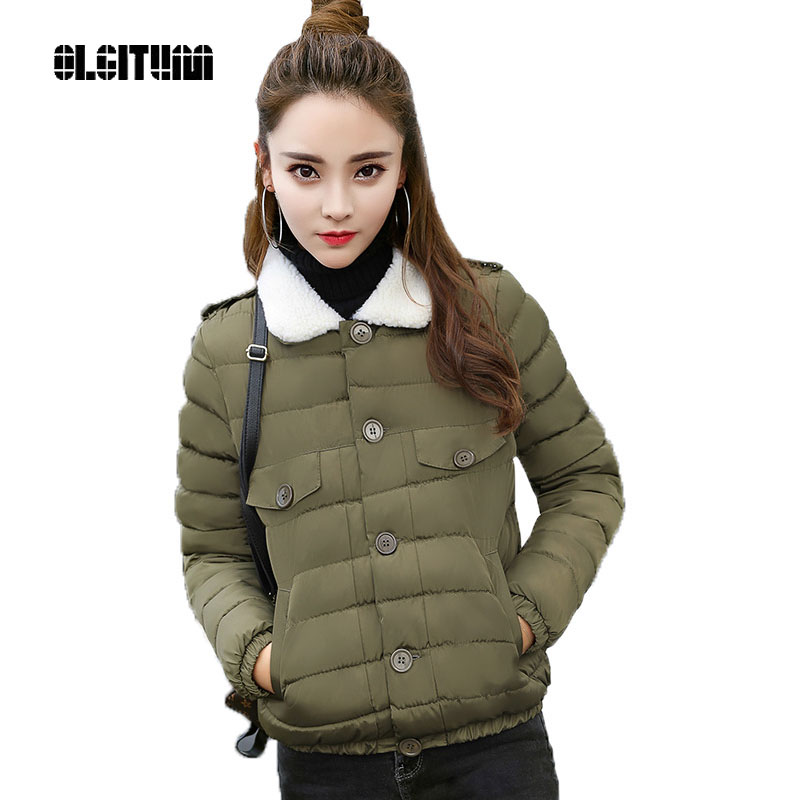 OLGITUM 2018 New short section of cotton women single row of lambs hair down jacket winter jacket CC401