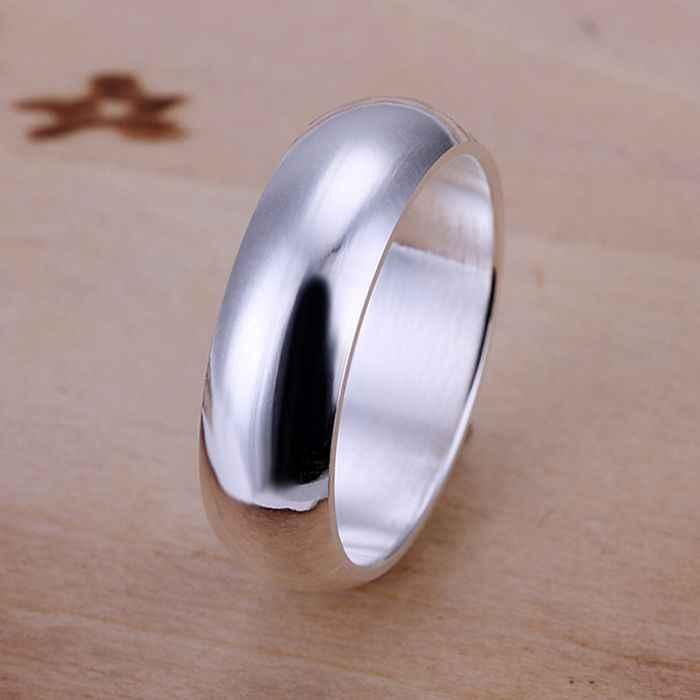 เงิน 925 แหวนแฟชั่นสมูทรอบแหวนเงินผู้หญิง & ผู้ชายของขวัญนิ้วมือแหวน SMTR025