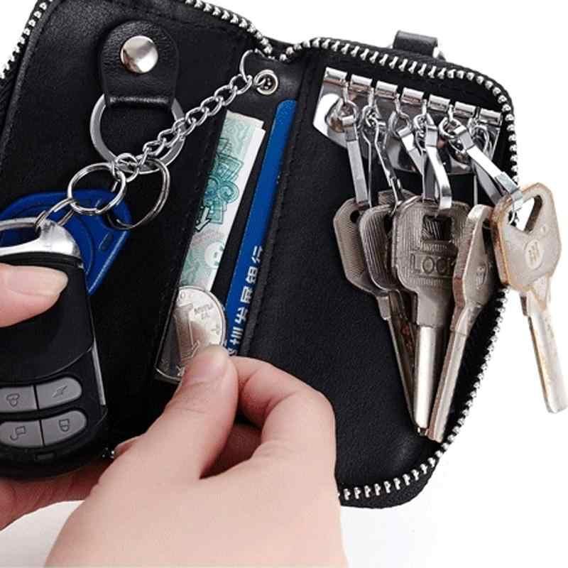 New arrival prawdziwej skóry mężczyzn brelok organizator wielofunkcyjne kobiety etui na klucze portfel gospodyni torebki kobiece na klucze do samochodu