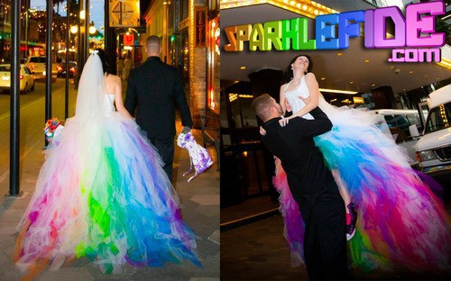 Wedding dresses rainbow colors