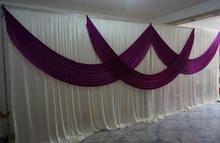 3m*6m wedding stage curtain Luxury White Wedding Backdrop with Beatiful Purple Swag Wedding drape and curtain