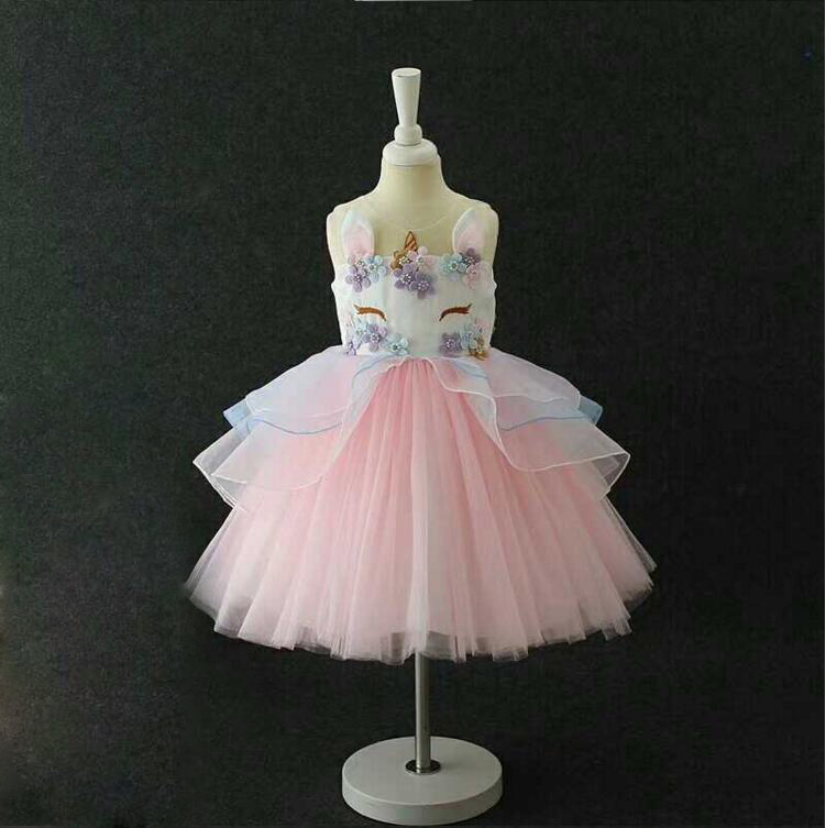 Fantasia Crianças Unicórnio Vestido de Tule para As Meninas Da Criança meninas vestidos para festa unicórnio Unicórnio cosplay Princesa do bebê vestido da menina