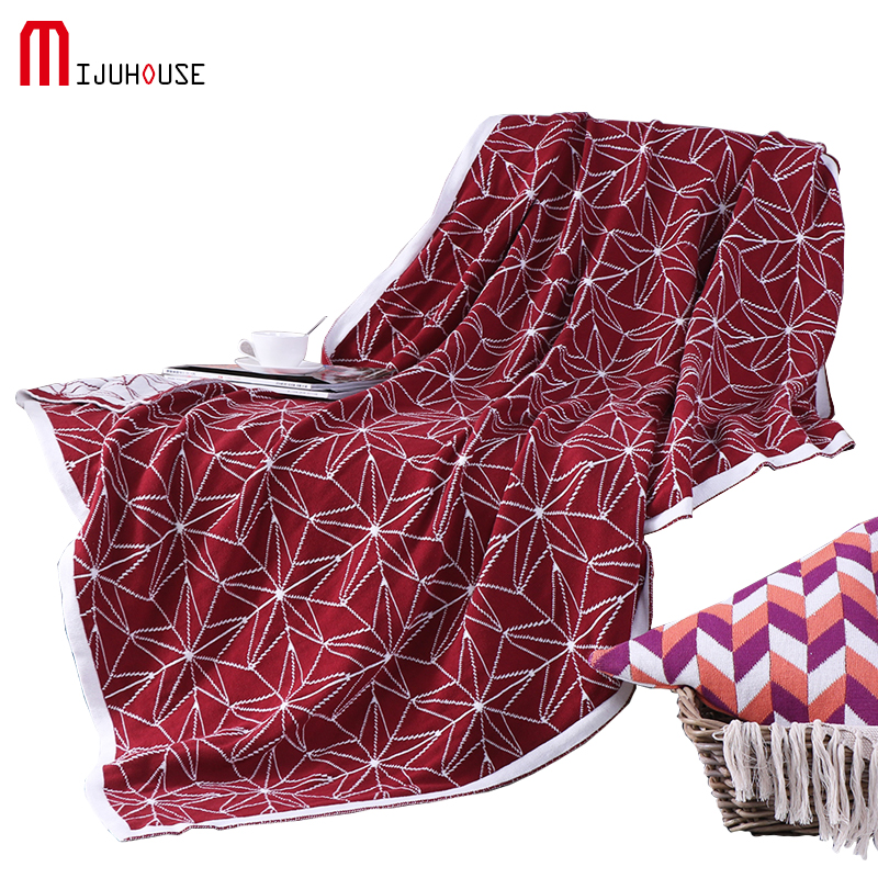 US $81.98 |HOT 120*160cm 100% Cotton Knitted Thread Blanket Red Star  Portable Blanket Throws On Sofa Bed Travel Plaids Chunky Knit Blankets-in  ...