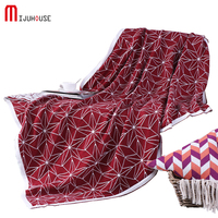 HOT 120*160cm 100% Cotton Knitted Thread Blanket Red Star Portable Blanket Throws On Sofa Bed Travel Plaids Chunky Knit Blankets