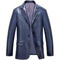 Новый мужской Моды Бренд Кожаный Костюм Высокого Качества для мужчин Большой Ярдов Овец Кожаная Куртка мужская Кожаная Куртка