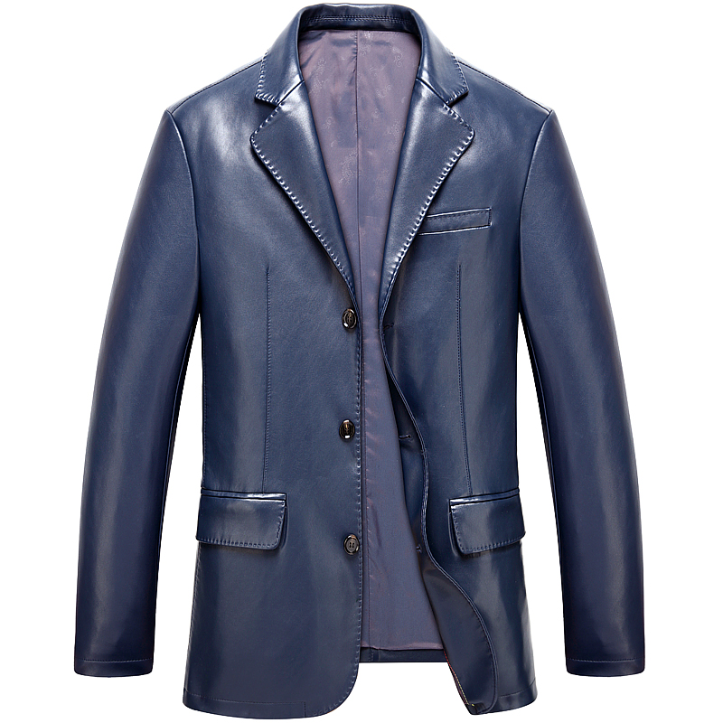 New Men's Fashion Brand  Leather Suit High Quality Men's Large Yards Sheep Leather Jacket Men's Leather Coat