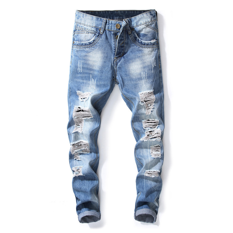 New Fashion Mens Blue Hole   Jeans   Luxury Men Slim Denim Trousers Slim Pencil Pants Blue   Jeans   for Men Hip Hop