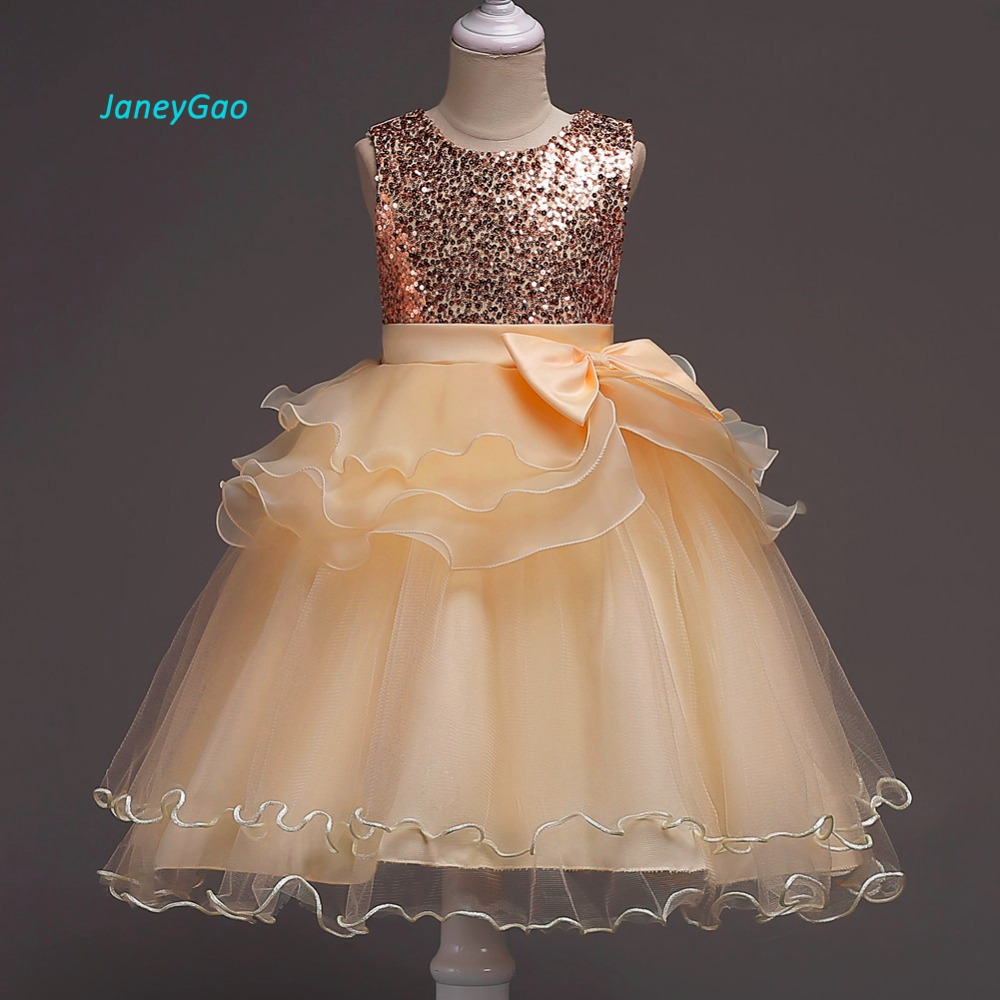 JaneyGao   Flower     Girl     Dresses   For Wedding Party With Bow Ruffles 2019 Summer New   Girl   Formal   Dress   Little   Girl   Gown Princess