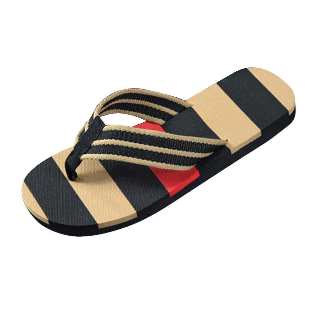 SIKETU Men Summer Stripe Flip Flops Sandals Male Slipper