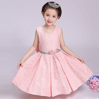 2017 Summer Spring New Style Kids Girls Lace Wedding Dress Costumes Flower Girl Princess Party Birthday