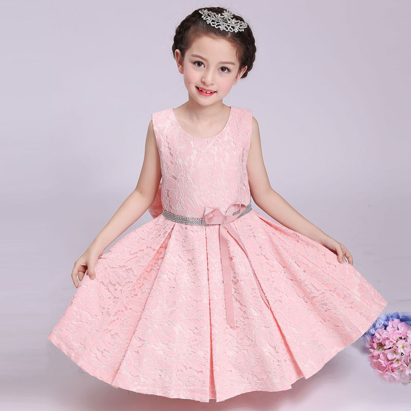 2018 Summer&Spring New Style Kids Girls Lace Wedding Dress Costumes Flower Girl Princess Party/Birthday/Performer/Host Dress 2016 spring new girls cheongsam princess dress flower girl birthday costumes embroidered flower tutu dress or with wrap 2pcs