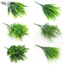 YO CHO Fake Plants Fern Grass Wedding Wall Outdoor Decor Green Leaf Artificial Flowers Plastic Plante for Home Garden Decoration(China)