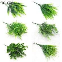 YO CHO Fake Plants Fern Grass Wedding Wall Outdoor Decor Green Leaf Artificial Flowers Plastic Plante for Home Garden Decoration