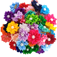 Hair-Bows Rubber-Bands Grooming Pet-Dog-Accessories with Pearl Pet-Cat-Dog 50pcs/25pairs