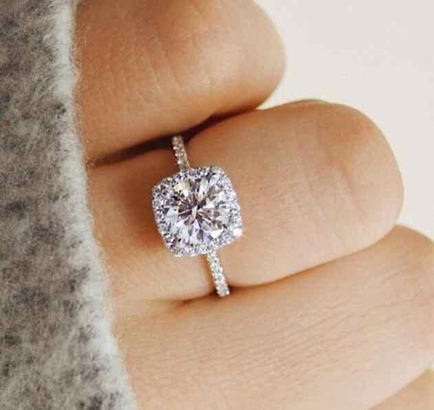 เงินสีแหวนหมั้น Zirconia เครื่องประดับแหวนแฟชั่นเครื่องประดับ rose gold และ Gold แหวนคริสตัลผู้หญิง