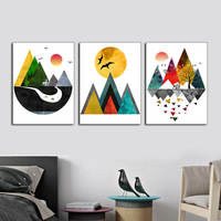 Nordic Art Poster Abstract Landscape Wall Art Canvas Paintings Giclee Print Forest Scenery Wall Pictures for Living Room Decor