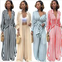 2018 African dress dasiki new traditional sexy fall casual stripe print baggy long shirt wide leg pants two piece suit