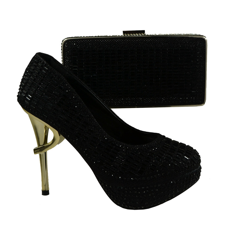 ФОТО 708-5 Black Color African Shoes And Matching Bags With Rhinestones Italian Ladies Shoes And Bags For Party