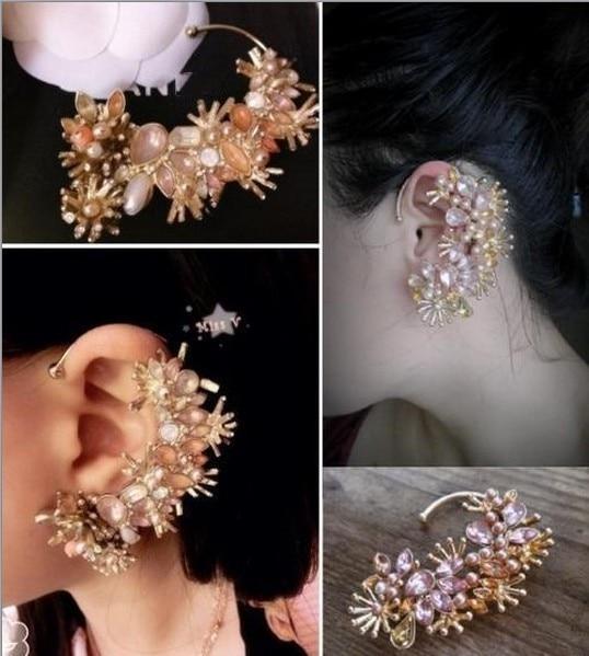 Min Order $8(Can Mix Item)Stunning Multi Flower Imitation Crystal Gold Ear Cuff Stud Earring Tassels Punk Goth