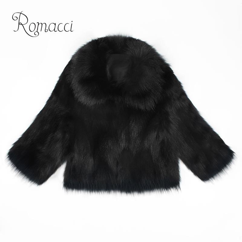 Womens Winter Warm 3 Colors Luxury Faux Fur Slim Outwear Short Jackets Overcoat