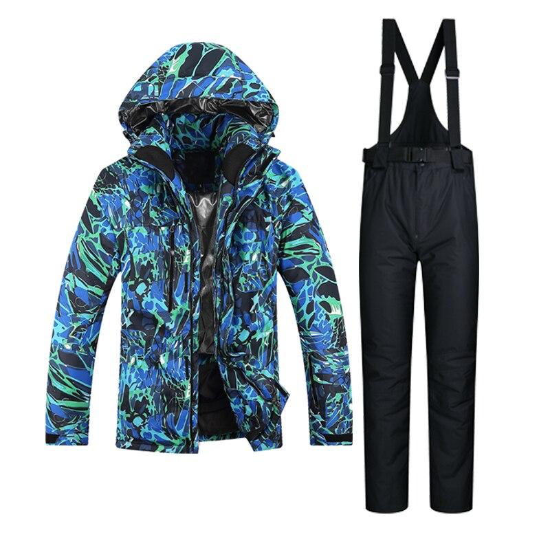 Prix pour 2017 Nouveau Haute Qualité Ski Costume Hommes Coupe-Vent Imperméable Respirant Vêtements Épaissir Thermique Neige Veste Et Pantalon Ensemble Snowboard
