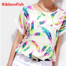2016 Summer Women Chiffon Blouses Tops Ladies Loose Short Sleeve Feather Printed Blouse & Shirts blusas femininas Plus Size