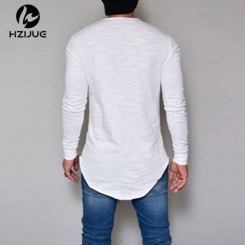 Summer Autumn Fashion Casual Slim Elastic Soft Solid Long Sleeve Men T Shirt 1