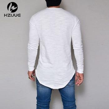 Summer Autumn Fashion Casual Slim Elastic Soft Solid Long Sleeve Men T Shirt 1