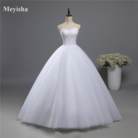 ZJ9022 2016 Fashion Beads Crystal White Ivory Wedding Dress For Brides Plus Size Formal Sweetheart 2