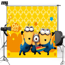 DAWNKNOWN Cartoon Yellow Vinyl Backdrop Minions New Fabric Flannel Photography Background For Baby Photo studio lv094 цена