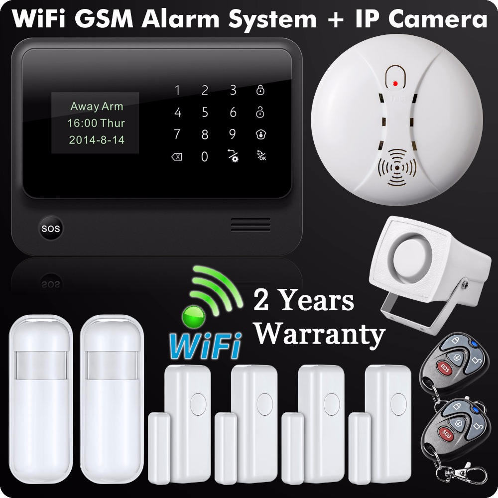 Wireless Alarm System Home Security Android IOS APP Remote Control Aarm Panel Kit Wireless Smoke Detector Home Alarm yobangsecurity 2 4g touch keypad wireless wifi alarm system security home ios android app remote control gas leakage detector