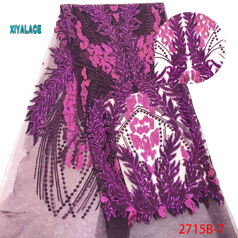 Purple French Lace Fabric For Dress Latest Nigerian Tulle Lace With Sequins 2019 High Quality African Lace Fabric YA2715B-7