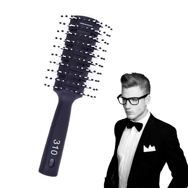1 Pc Antistatic Black Men Salon Hair Styling Brush Comb Resin Handle Hair Style Tool Promotion Price