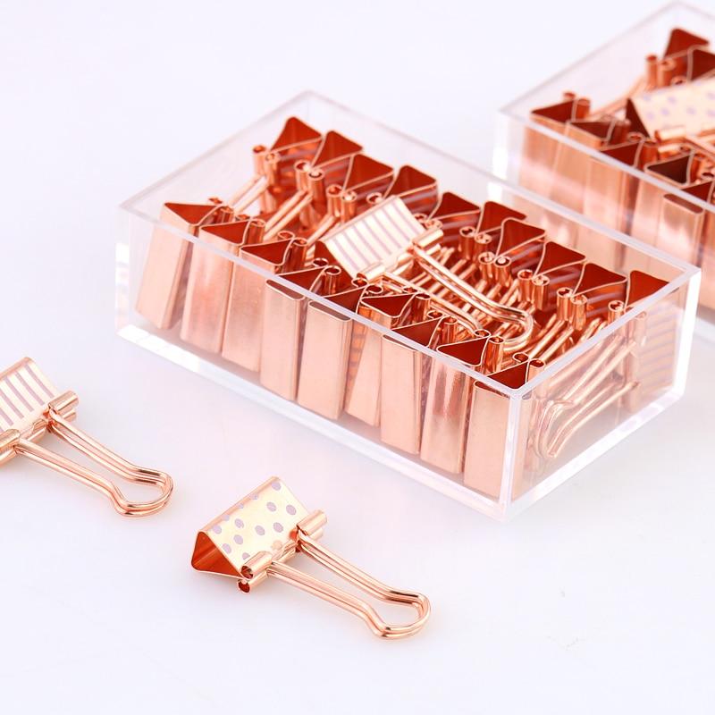 20 pçs/caixa 19mm clipe de papel ouro rosa metal binder clipes dot tira braçadeira clipe de papel suprimentos pinzas oficina chancery