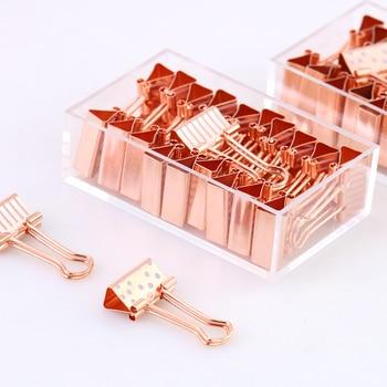 20 sztuk/pudło 19mm Spinacz Różowe Złoto Metal Binder Klipy Dot Taśmy Papieru Klip Zacisk Zacisk Materiały pinzas ofici chancery