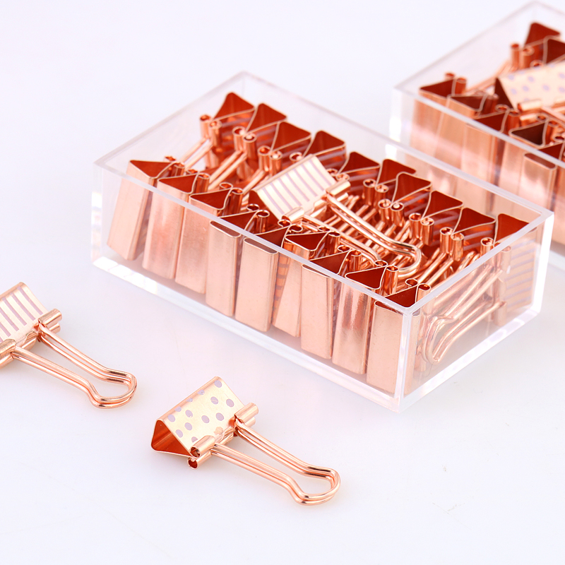 20pcs/box 19mm Paper Clip Rose Gold Metal Binder Clips Dot Strip Clamp Paper Clip Clamp Supplies pinzas ofici chancery цена и фото