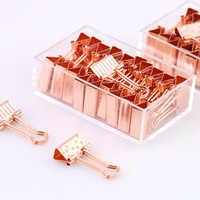 20pcs/box 19mm Paper Clip Rose Gold Metal Binder Clips Dot Strip Clamp Paper Clip Clamp Supplies pinzas ofici chancery