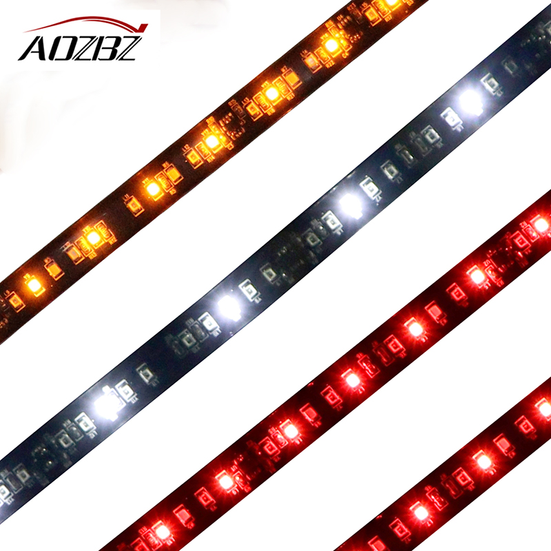 AOZBZ Flexible Pickup Car 2pcs Tailgate Light Bar Running Brake Reverse Flowing Turn Signal Rear Strip Light Lamp 50cm 98-LED