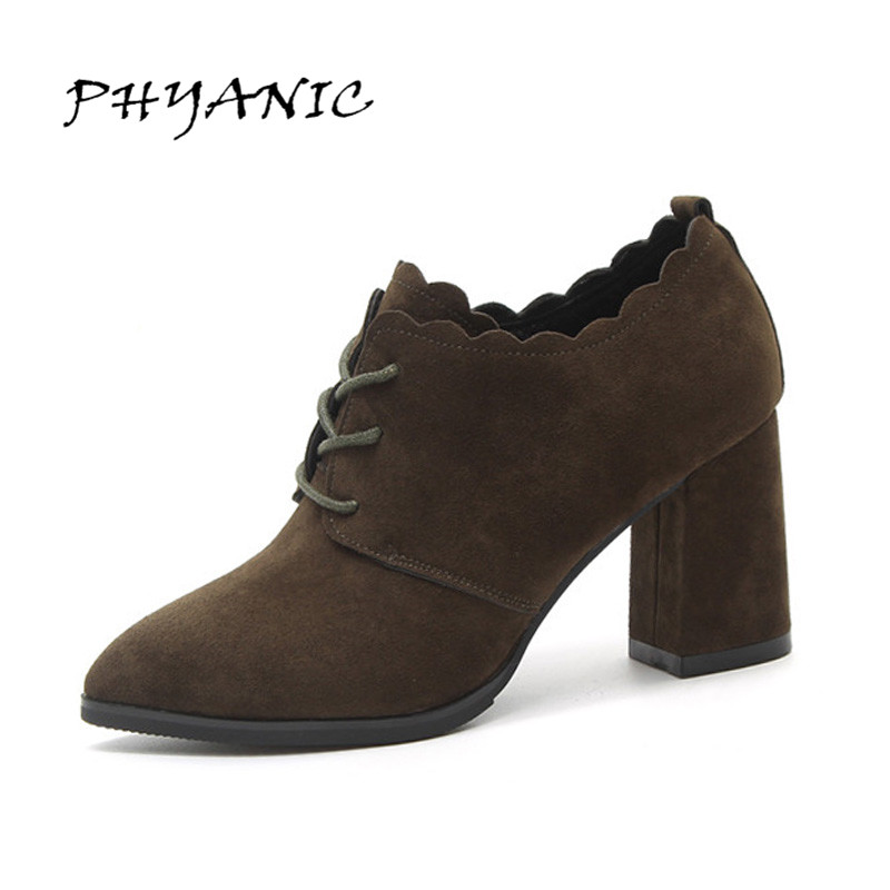 PHYANIC Women Ankle Boots Flock Leather Lace Up High Heel Pointed Toe Supper Quality Woman New Fashion Wedding Pumps PHY0942 цены онлайн