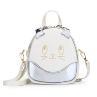 Hot Kitten Pattern Women Mini Backpack Soft PU Leather Bags College Style Schoolbag Fashion Casual Teenagers