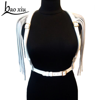 Sexy club Straps Shoulder Leather Handmade Harness double row Tassel Waist Belts Body Bondage punk metal silver buckle Belt double padded strimmer brushcutter harness quick release shoulder straps suits