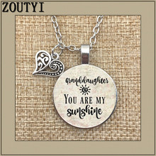 2018/ hot sale you are my sun pendant, inspirational charm necklace only sunshine, gift for granddaughter